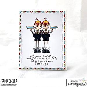 www.stampingbella.com: rubber stamp used ODDBALL TWEEDLE DEE AND TWEEDLE DUM Card by Sandie Dunne