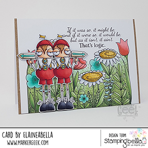 www.stampingbella.com: rubber stamp used ODDBALL TWEEDLE DEE AND TWEEDLE DUM Card by Elaine Hughes