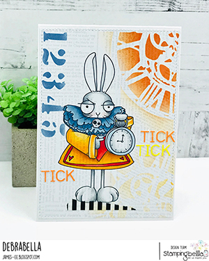 www.stampingbella.com: rubber stamp used ODDBALL WHITE RABBIT Card by Debra James