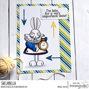 www.stampingbella.com: rubber stamp used ODDBALL WHITE RABBIT Card by Michele Boyer