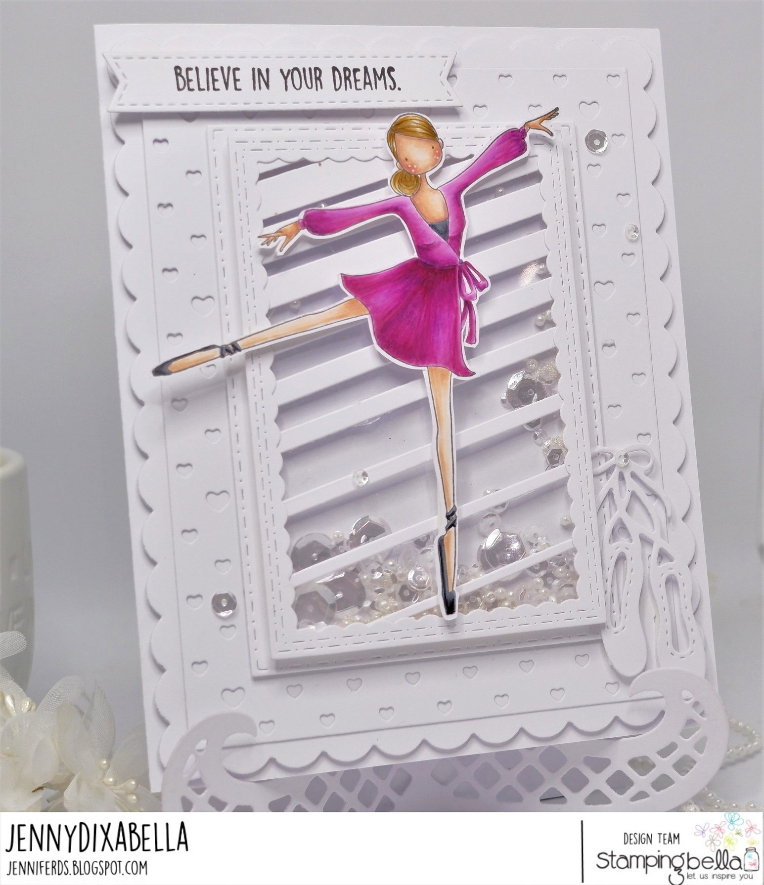 www.stampingbella.com: rubber stamp used: UPTOWN GIRL STEPHANIE loves BALLET, card by Jenny Dix