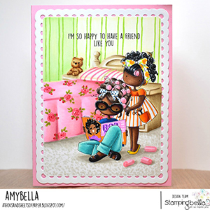 www.stampingbella.com: rubber stamp used: TINY TOWNIES HAIR PLAY card by Amy Young