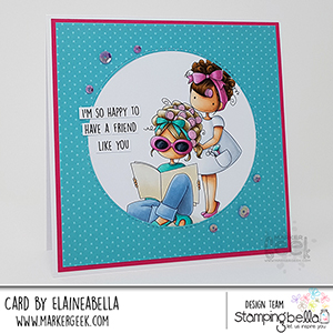 www.stampingbella.com: rubber stamp used: TINY TOWNIES HAIR PLAY card by Elaine Hughes