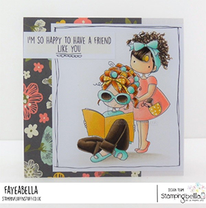 www.stampingbella.com: rubber stamp used: TINY TOWNIES HAIR PLAY card by Faye Wynn Jones