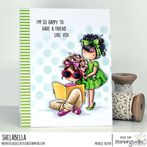 www.stampingbella.com: rubber stamp used: TINY TOWNIES HAIR PLAY card by Michele Boyer