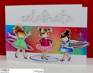 www.stampingbella.com: rubber stamp used: tiny townie hula hoopers. Card by Stephanie Hill