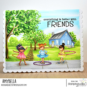 www.stampingbella.com: rubber stamp used: tiny townie hula hoopers. Card by Amy Young