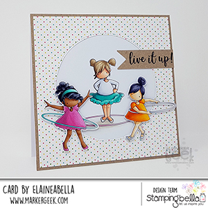 www.stampingbella.com: rubber stamp used: tiny townie hula hoopers. Card by Elaine Hughes