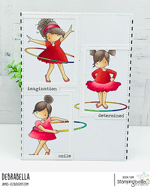 www.stampingbella.com: rubber stamp used: tiny townie hula hoopers. Card by Debra James