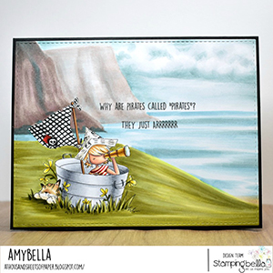 www.stampingbella.com: rubber stamp used: TINY TOWNIE PIRATE card by Amy Young