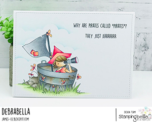 www.stampingbella.com: rubber stamp used: TINY TOWNIE PIRATE card by DEBRA JAMES