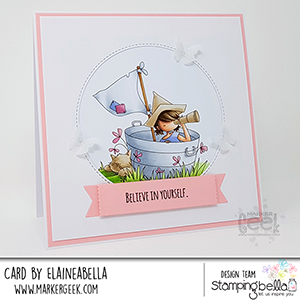 www.stampingbella.com: rubber stamp used: TINY TOWNIE PIRATE card by ELAINE HUGHES