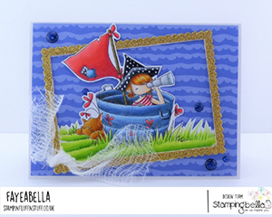 www.stampingbella.com: rubber stamp used: TINY TOWNIE PIRATE card by FAYE WYNN JONES
