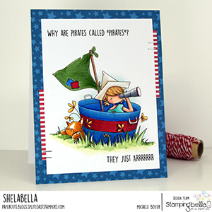 www.stampingbella.com: rubber stamp used: TINY TOWNIE PIRATE card by Michele Boyer