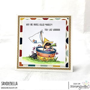 www.stampingbella.com: rubber stamp used: TINY TOWNIE PIRATE card by Sandie Dunne
