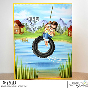 www.stampingbella.com: rubber stamp used: TINY TOWNIE TIRE SWING card by amy young