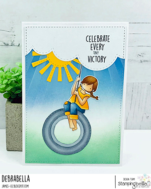www.stampingbella.com: rubber stamp used: TINY TOWNIE TIRE SWING card by DEBRA JAMES