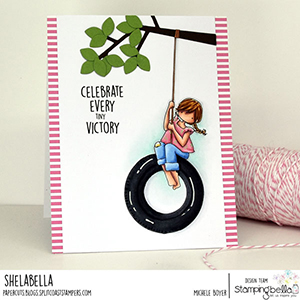 www.stampingbella.com: rubber stamp used: TINY TOWNIE TIRE SWING card by MICHELE BOYER