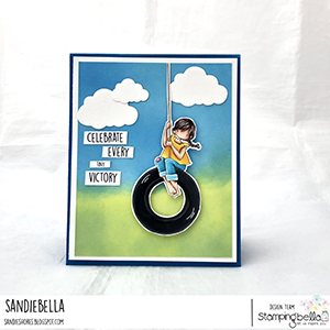 www.stampingbella.com: rubber stamp used: TINY TOWNIE TIRE SWING card by SANDIE DUNNE