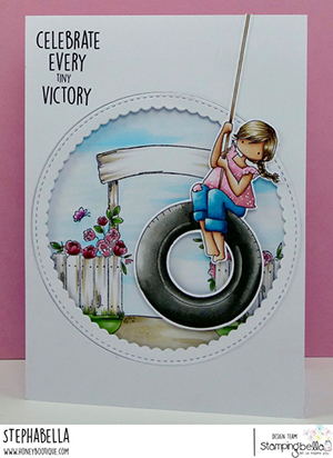 www.stampingbella.com: rubber stamp used: TINY TOWNIE TIRE SWING card by STEPHANIE HILL