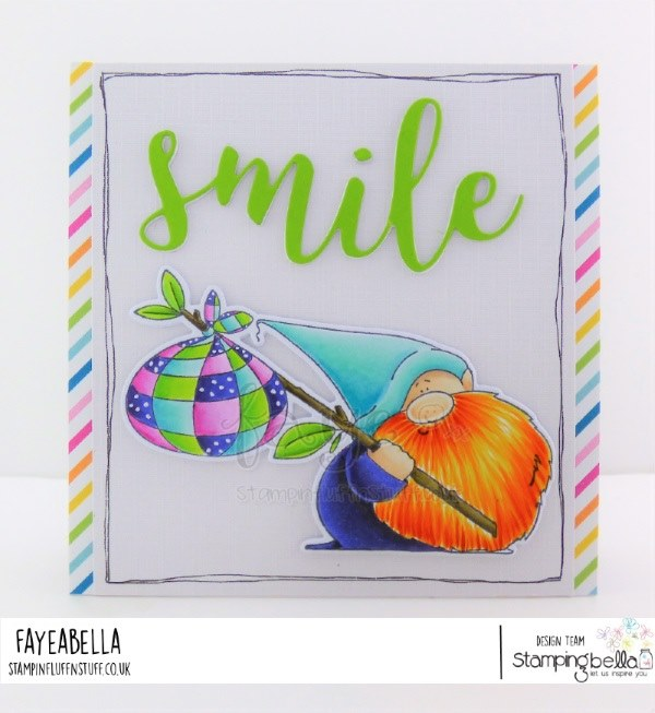 www.stampingbella.com: rubber stamp used: TRAVELING GNOME, card by FAYE WYNN JONES