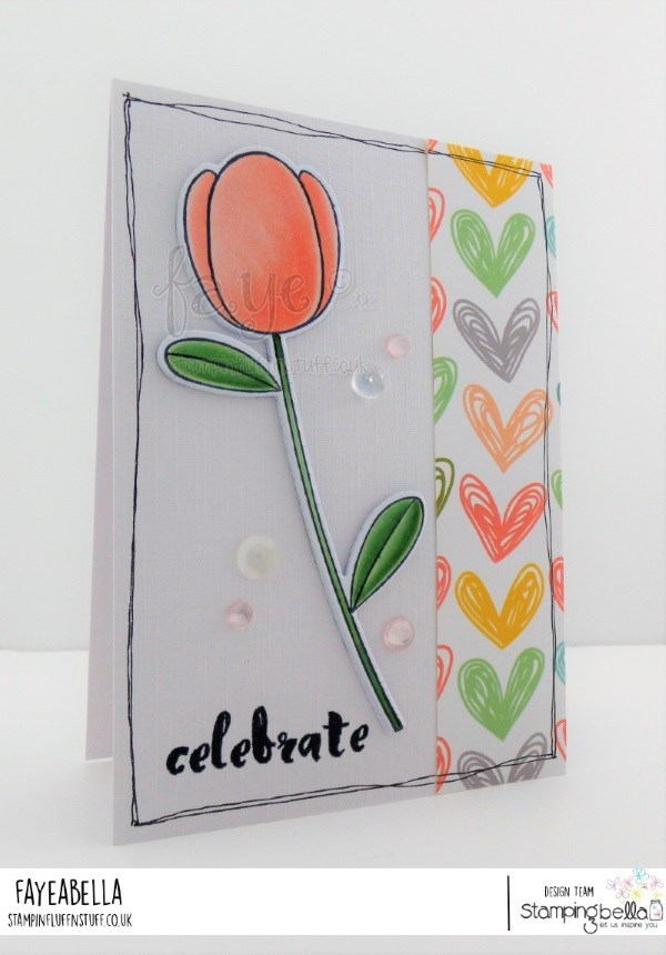 www.stampingbella.com: rubber stamp used TULIP FLORAL SET   Card by FAYE WYNN JONES