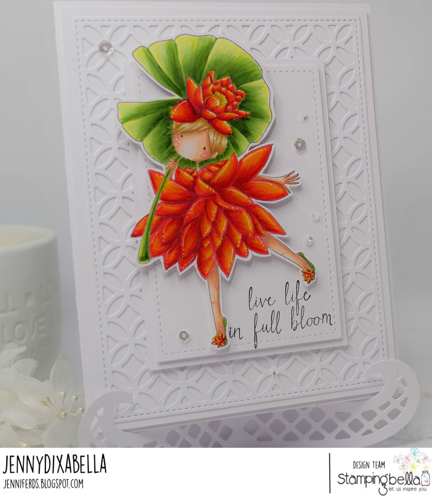 www.stampingbella.com: rubber stamp used TINY TOWNIE GARDEN GIRL WATERLILY. Card by Jenny Dix