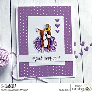 www.stampingbella.com: rubber stamp used: bostons,Pug and Chihuahua, card by Michele Boyer