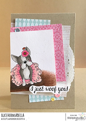 www.stampingbella.com: rubber stamp used: bostons,Pug and Chihuahua, card by Alice Huang