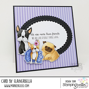 www.stampingbella.com: rubber stamp used: bostons,Pug and Chihuahua, card by Elaine Hughes
