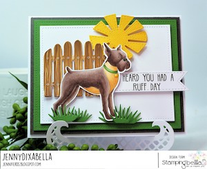 www.stampingbella.com: rubber stamp used: Boxer and Dalmation card made by JennyDIXabella