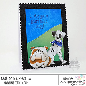 www.stampingbella.com: rubber stamp used: Boxer and Dalmation card made by Elaineabella