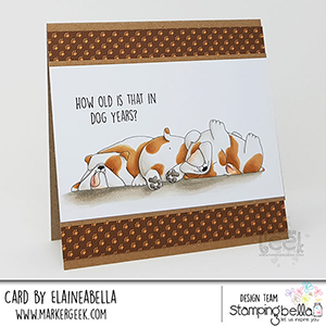 www.stampingbella.com: rubber stamp used: BULLY TRIO card made by Elaine Hughes