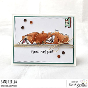 www.stampingbella.com: rubber stamp used: BULLY TRIO card made by Sandie Dunne