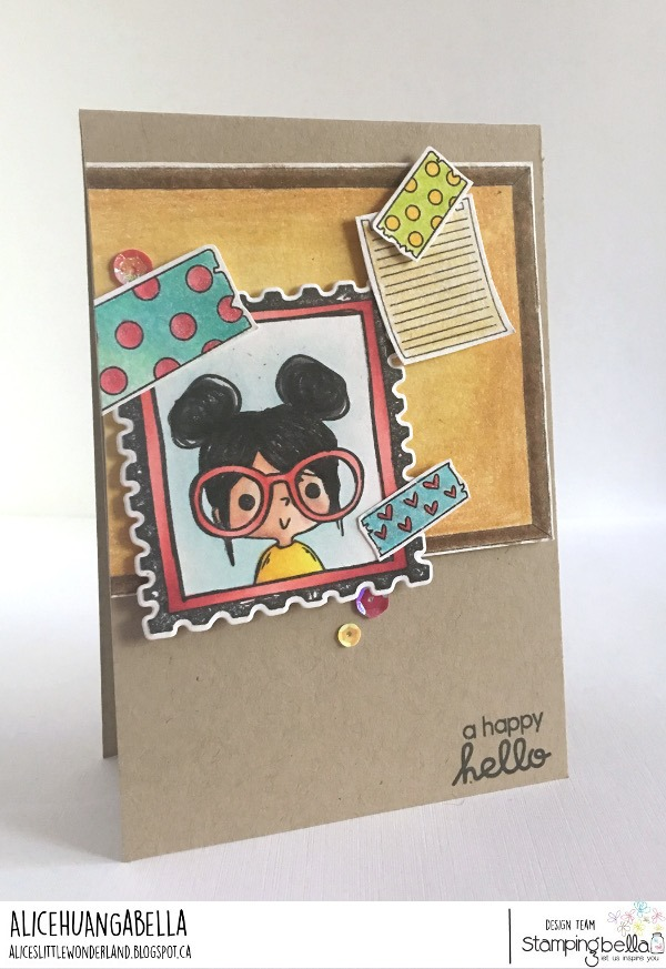 www.stampingbella.com: rubber stamps used: CORKBOARD BACKDROP, WASHI TAPE SET and PUT A STAMP ON IT ROSIE.  Card by Alice Huang
