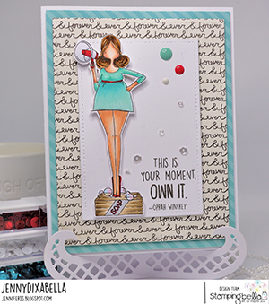www.stampingbella.com: rubber stamp used: CURVY GIRL WITH A MESSAGE. Card by Jenny Dix