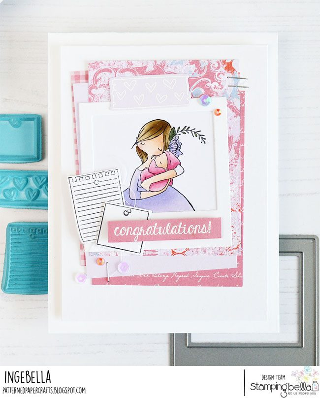 www.stampingbella.com: rubber stamps used:  CURVY GIRL NEWBORN,  corkboard backdrop.  Card by Inge Groot
