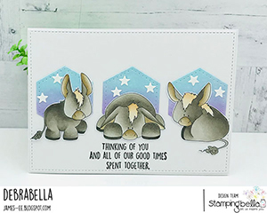 www.stampingbella.com: Rubber stamp used: DONKEY TRIO STUFFIES. Card by Debra James