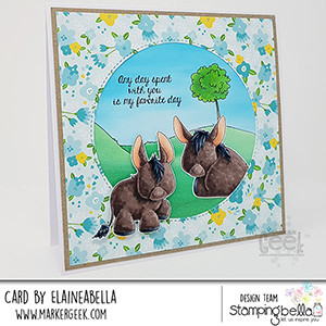 www.stampingbella.com: Rubber stamp used: DONKEY TRIO STUFFIES. Card by Elaine Hughes