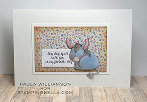 www.stampingbella.com: Rubber stamp used: DONKEY TRIO STUFFIES. Card by Paula Williamson