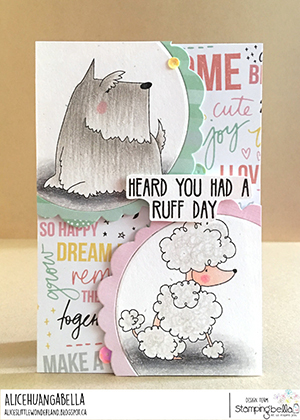 www.stampingbella.com: rubber stamp used: FRENCHIE, SCOTTIE, POODLE and DACHSIE card made by Alice Huang