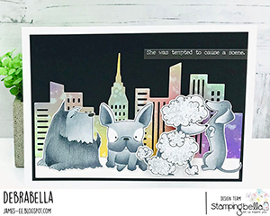 www.stampingbella.com: rubber stamp used: FRENCHIE, SCOTTIE, POODLE and DACHSIE card made by Debrabella