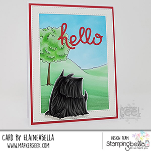 www.stampingbella.com: rubber stamp used: FRENCHIE, SCOTTIE, POODLE and DACHSIE and GARDEN BACKDROP card made by Elaineabella