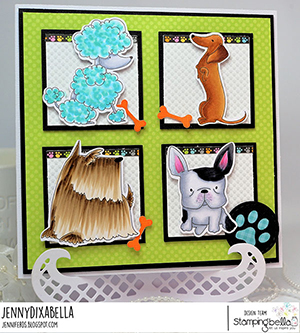 www.stampingbella.com: rubber stamp used: FRENCHIE, SCOTTIE, POODLE and DACHSIE card made by JennyDIXabella