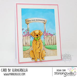 www.stampingbella.com: rubber stamp used: GOLDEN, WOLFHOUND, BULLDOG and Garden Backdrop card made by Elaineabella