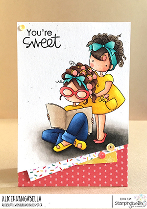 www.stampingbella.com: rubber stamp used: TINY TOWNIES HAIR PLAY card by Alice Huang