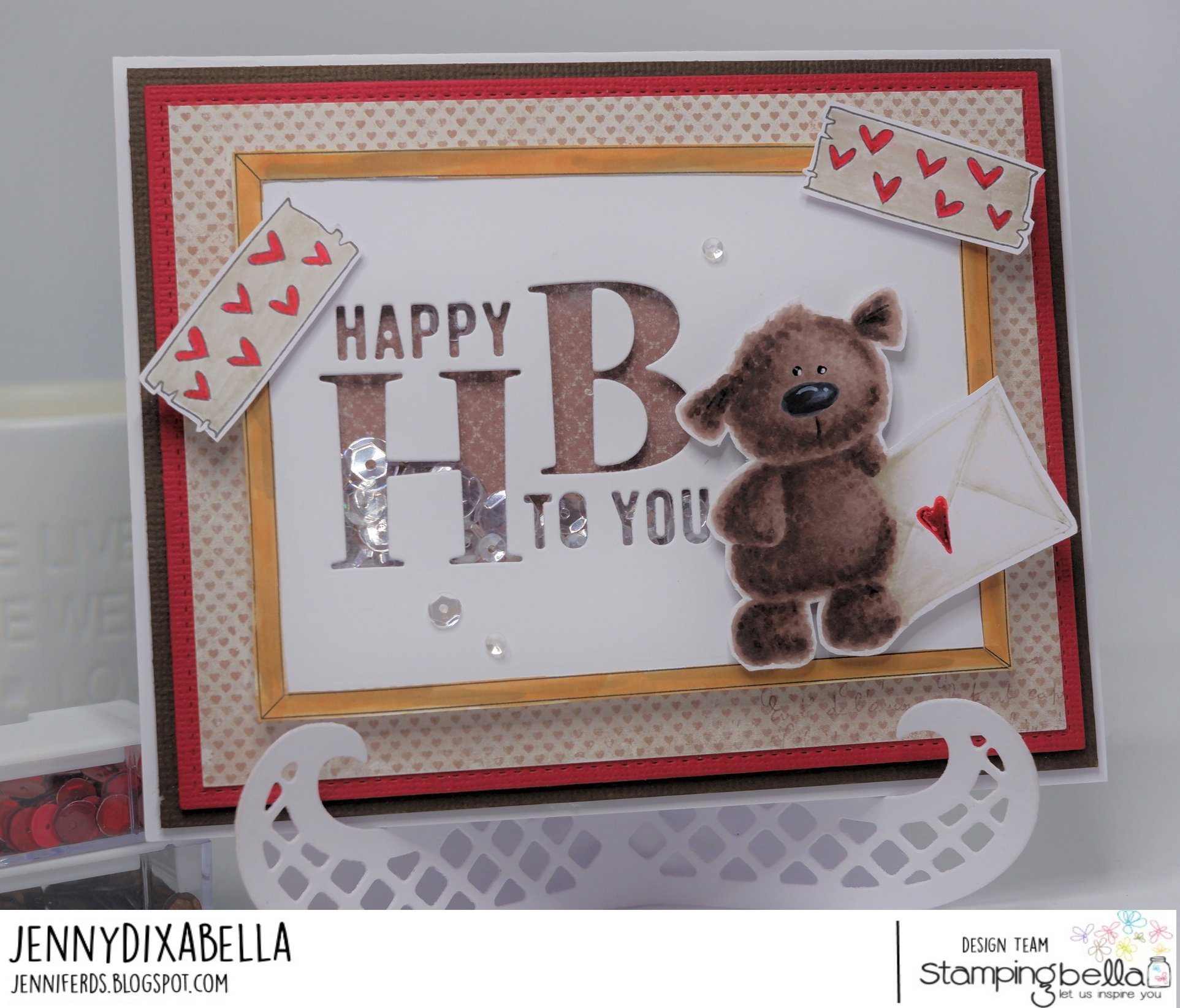 www.stampingbella.com: rubber stamps used:  l  washi tape set, corkboard backdrop and Harry the Stuffie.  Card by Jenny Dix