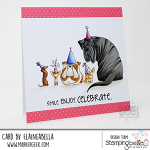 www.stampingbella.com: Rubber stamp used: PARTY DOGS. Card by Elaine Hughes