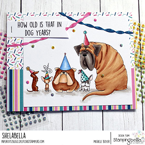 www.stampingbella.com: Rubber stamp used: PARTY DOGS. Card by Michele Boyer