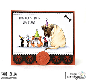 www.stampingbella.com: Rubber stamp used: PARTY DOGS. Card by Sandie Dunne